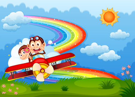 Illustration of a plane with two boastful monkeys and a rainbow in the sky Vector