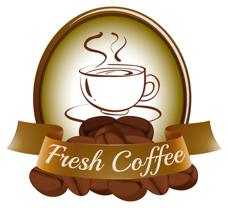 hotness: Illustration of a fresh coffee label with a cup of hot coffee on a white background
