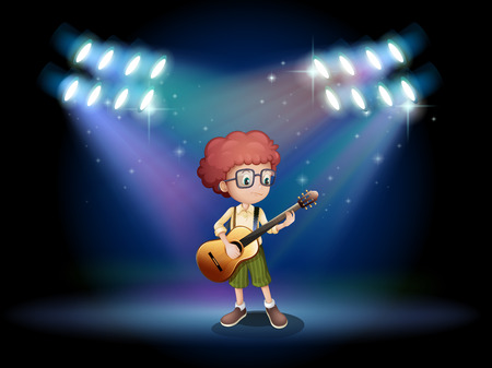 Illustration of a talented teenager in the middle of the stage with a guitar Illustration