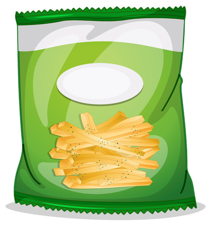 crispy: Illustration of a pack of crispy french fries on a white background