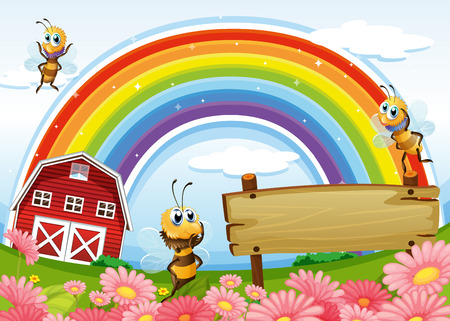 Illustration of an empty signboard at the hilltop with a barnhouse and a rainbow Vector