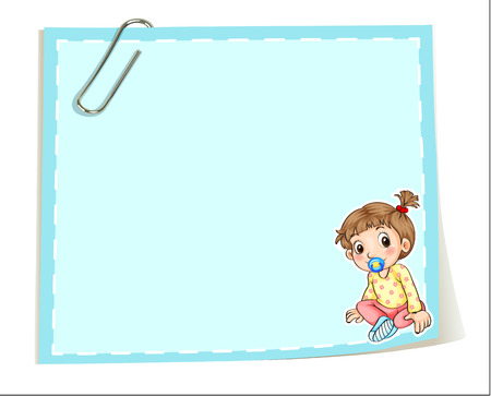 infant: Illustration of an empty paper template with a paper clip and an infant on a white background