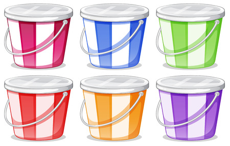 pink stripes: Illustration of the six colorful pails on a white background