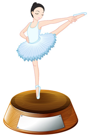 labeling: Illustration of a ballet dancer above the trophy stand with an empty label on a white background