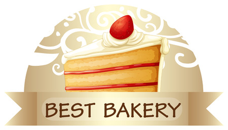 Illustration of a best bakery label showing a slice of cake on a white background Vector