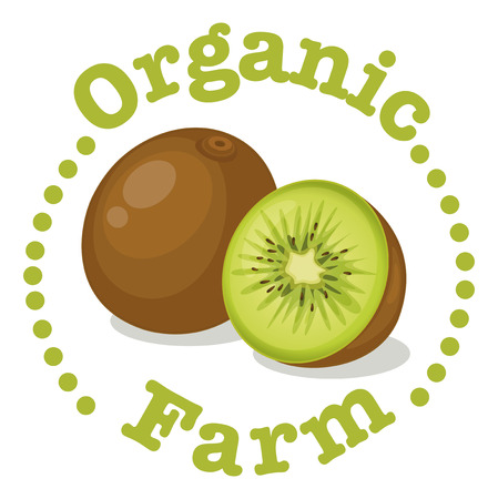 labelling: Illustration of an organic farm label with a kiwi on a white background