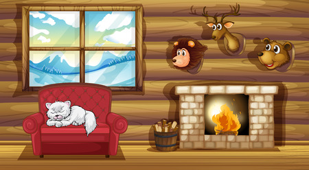 cat sleeping: Illustration of a living room with stuffed animal head decors