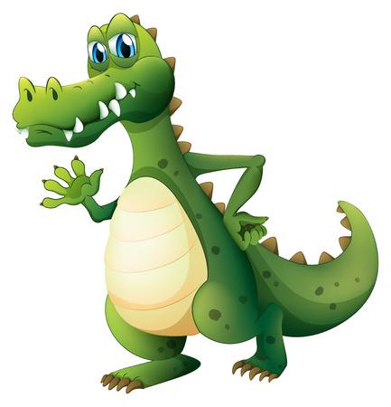 dangerous: Illustration of a dangerous crocodile on a white background Illustration