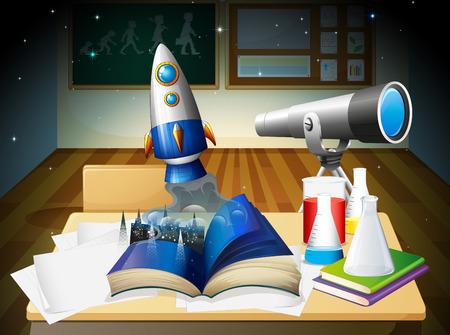 Illustration of a science lab room