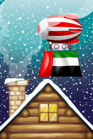emirates: Illustration of a floating balloon with the UAE flag