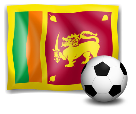 srilanka: Illustration of the flag of SriLanka with a soccer ball on a white background