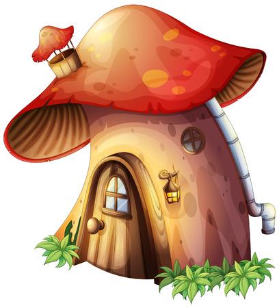 finestra: Illustrazione di una casa di funghi su uno sfondo bianco