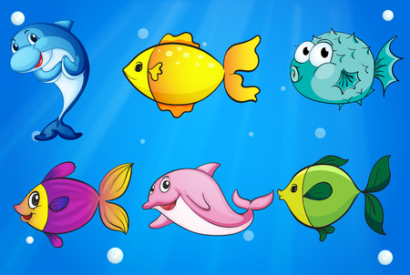 fish drawing: Illustration of the six different fishes under the sea