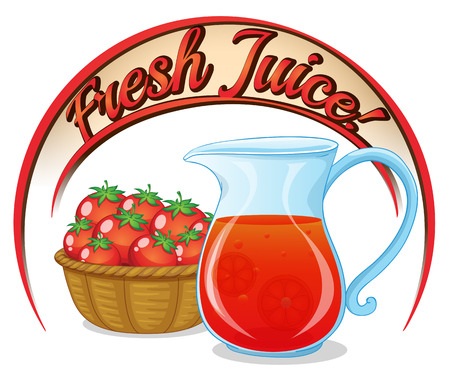 refreshes: Illustration of a fresh juice label with a basket of tomatoes and a pitcher of juice on a white background