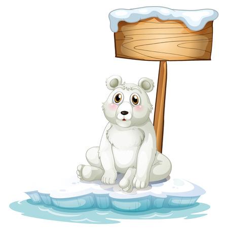 northpole: Illustratie van een trieste beer boven de ijsberg met een leeg bord op een witte achtergrond