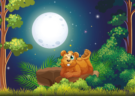 Illustration of a bear lying above the rock in the middle of the forest Stock Vector - 26191163