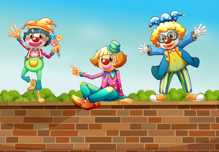 Illustration of the three clowns above the wall Vector