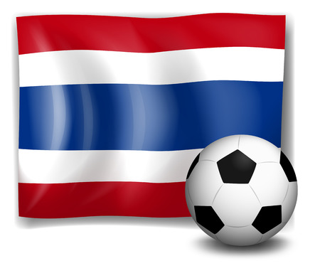 Illustration of the flag of Thailand beside a soccer ball on a white background