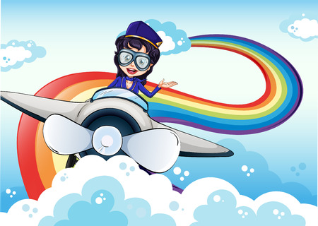 Illustration of a female pilot driving the plane and a rainbow in the sky Vector