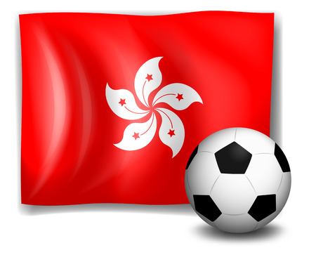 Illustration of the flag of Hongkong and the soccer ball on a white background