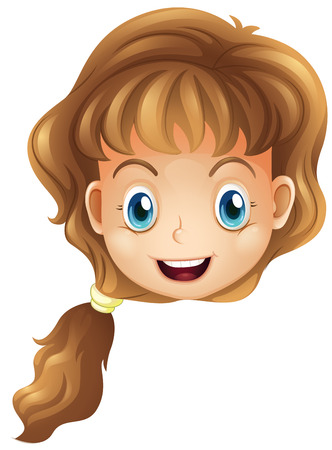 wavy hair: Illustration of a head of a smiling girl on a white background Illustration