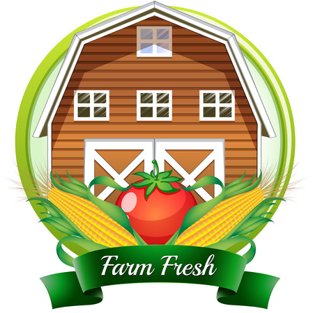 barnhouse: Illustration of a farm fresh label with a brown barnhouse, a tomato and corns on a white background