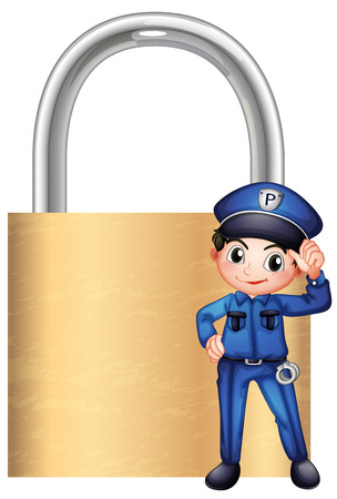 enforcer: Illustration of a police officer in front of the giant lock on a white background Illustration