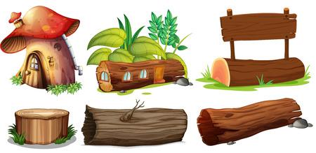 Illustration der verschiedenen Verwendungen von Holz auf einem weißen Hintergrund