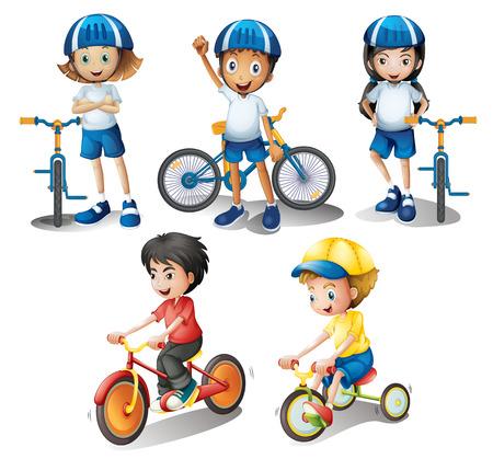 ni�os sonriendo: Ilustraci�n de los ni�os con sus bicicletas en un fondo blanco
