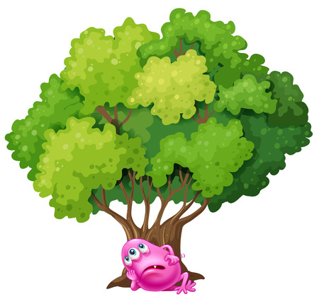 tiring: Illustration of a pink monster resting under the tree on a white background