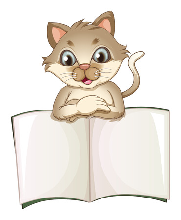 office supply: Illustration of a brown cat opening an empty notebook on a white background Illustration