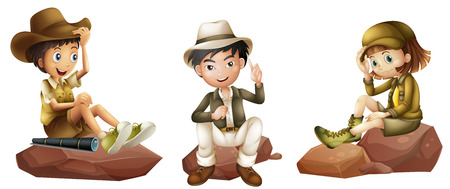 Illustration of the three young explorers on a white background Vector