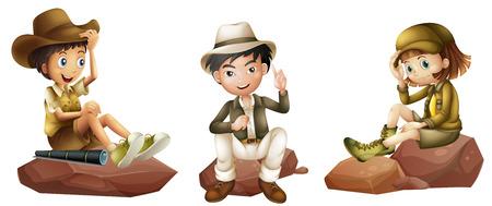 esploratori: Illustrazione dei tre giovani esploratori su uno sfondo bianco