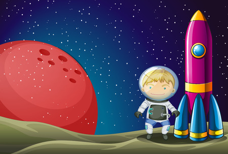 Illustration of an explorer beside the rocket in the outerspace Vector