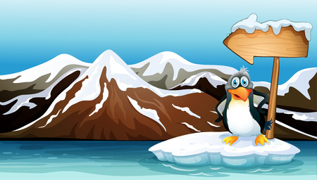 Illustration of a penguin above the iceberg with an arrowboard Vector