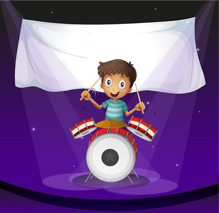 drumming: Illustration of a drummer at the stage with an empty banner at the back Illustration