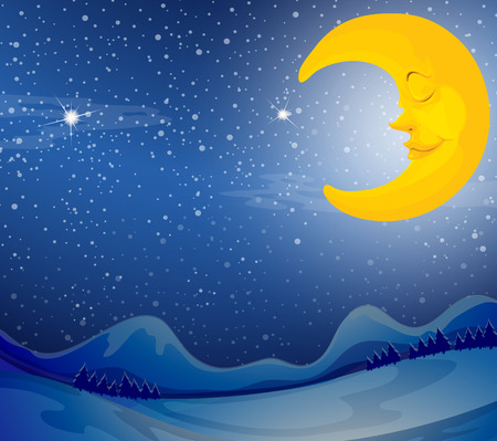 Illustration of a sleeping moon Vector
