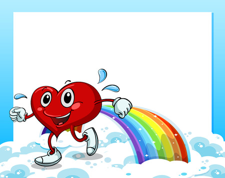 Illustration of an empty template with a rainbow and a walking heart Vector