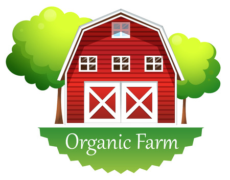 barn wood: Illustration of an organic farm label with a red wooden house on a white background Illustration