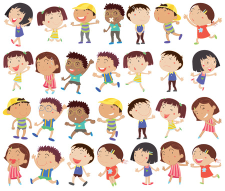 Illustration of a group of happy kids on a white background Çizim