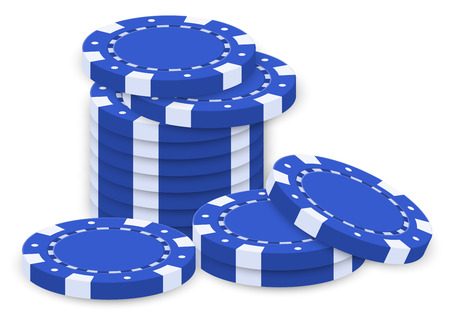 poker chip: Illustration of a group of blue poker chips on a white background