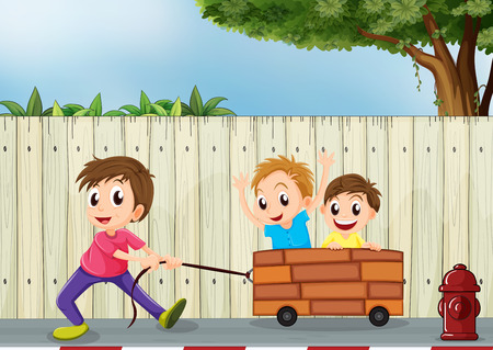 improvised: Illustration of the three boys playing near the wooden wall
