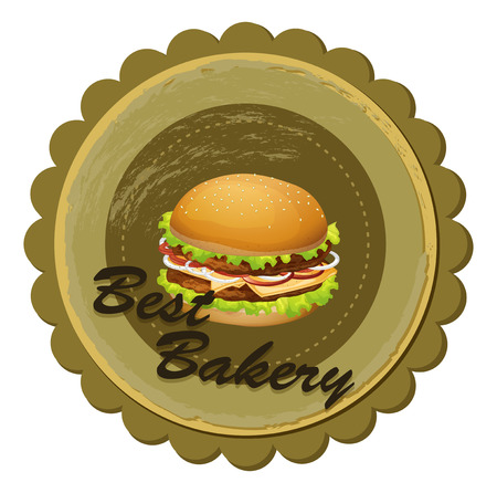 labelling: Illustration of a best bakery label with a burger on a white background
