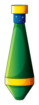 elongated: Illustration of an elongated bomb on a white background