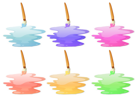 paiting: Illustration of the six paint options on a white background Illustration