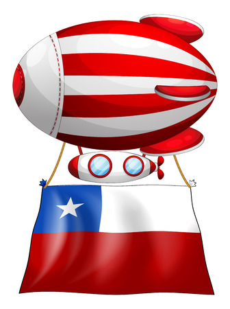 chile flag: Illustration of a stripe-colored balloon with the flag of Chile on a white background