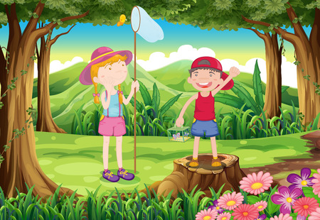 Illustration of a boy and a girl playing at the forest Vector