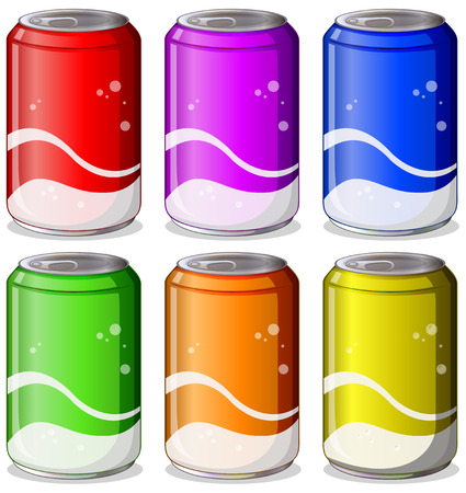 Illustration of the six colorful soda cans on a white background Vector