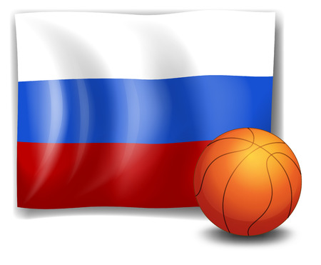 tricoloured: Illustration of the flag of Russia with a ball on a white background