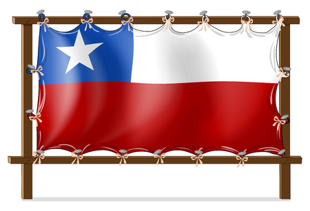 chile flag: Illustration of a wooden frame with the flag of Chile on a white background
